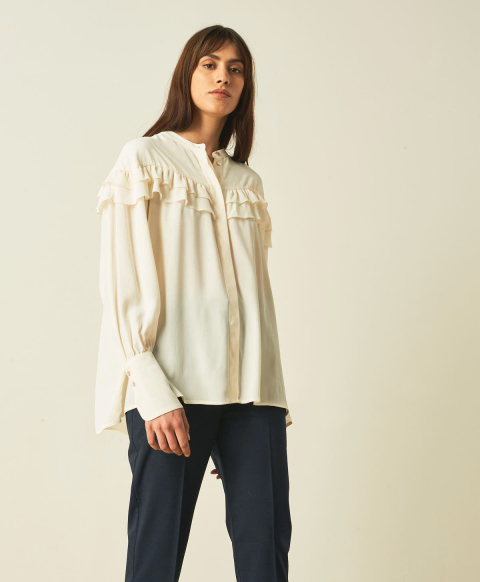 MOULINS SHIRT IN SILK BLEND CREPE - WHITE