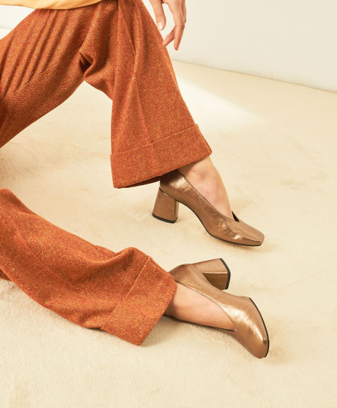 ZAFFIRO SHOES IN LAMÉ ECO LEATHER - LIGHT GOLD