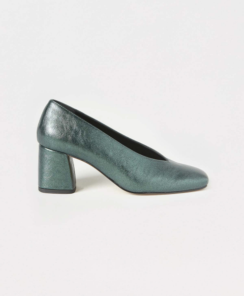 ZAFFIRO SHOES IN LAMÉ ECO LEATHER - DARK GREEN