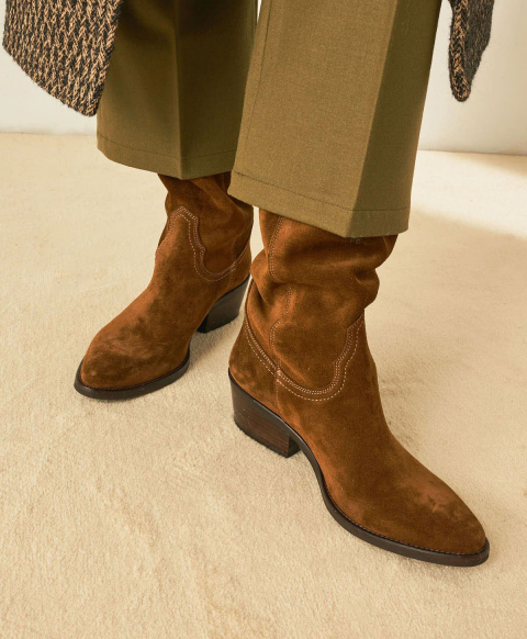 RENNES SHOES IN OILED SUEDE - TOBACCO