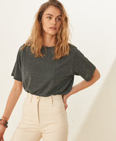 IORA T-SHIRT IN SOLID COLOUR LUREX STRETCH JERSEY - GRAY