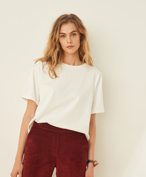 IORA T-SHIRT IN SOLID COLOUR COTTON JERSEY - WHITE