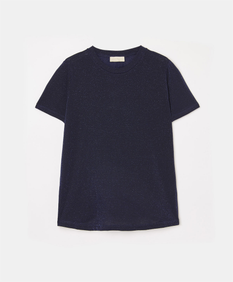 SELENE T-SHIRT IN SOLID COLOUR LUREX STRETCH JERSEY - BLUE