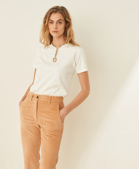 SELENE T-SHIRT IN SOLID COLOUR COTTON JERSEY - WHITE