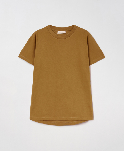 SELENE T-SHIRT IN SOLID COLOUR COTTON JERSEY - CIGAR BROWN