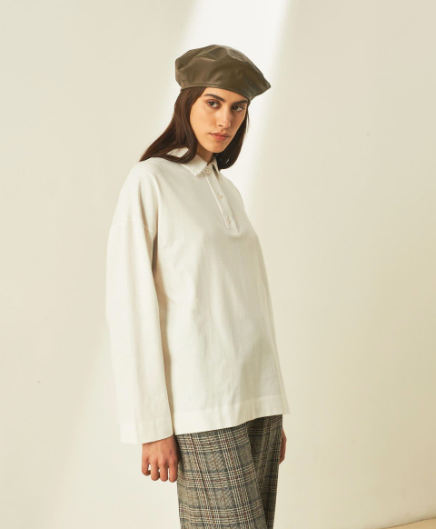 SISSONNE T-SHIRT IN SOLID COLOUR COTTON JERSEY - WHITE