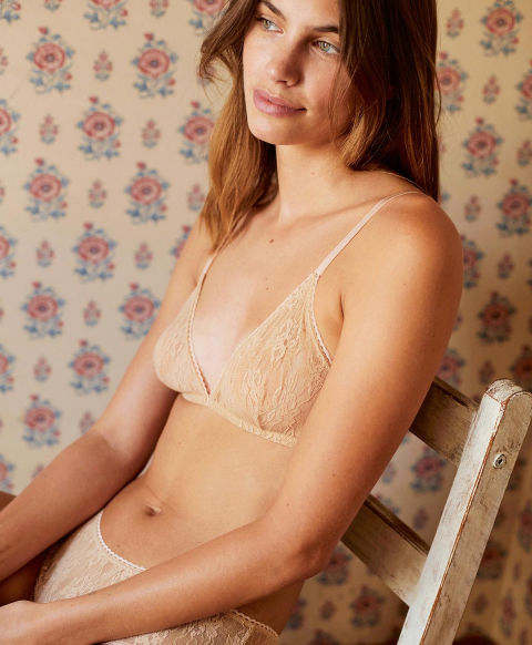 AMETHIST BRA IN NATURAL STRETCH LACE - NUDE