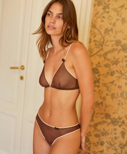 AMETHIST BRA IN STRETCH TULLE - BROWN