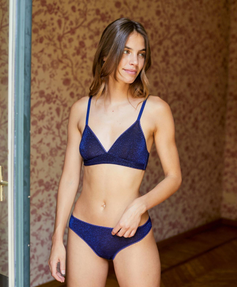 ARCA KNICKERS IN SOLID COLOUR LUREX STRETCH JERSEY - BLUE
