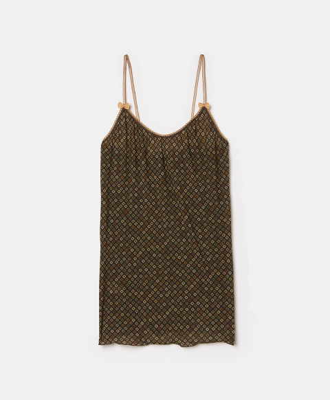 AIRELLE TOP IN PRINTED CHARMEUSE - BROWN/MULTICOLOR