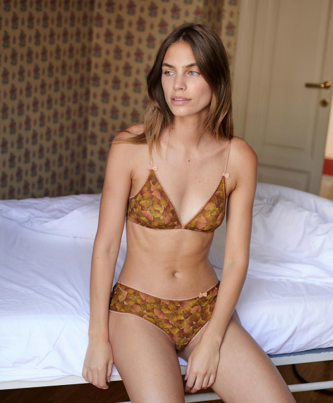 AMACA KNICKERS IN PRINTED STRETCH CHARMEUSE - GREEN PINK