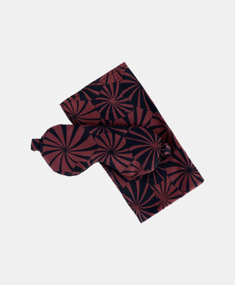 SLEEP MASK OUDRY IN PRINTED SILK BLUE/MAUVE