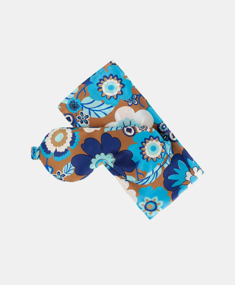 SLEEP MASK OUDRY IN PRINTED SILK AIR FORCE BLUE/TOBACCO