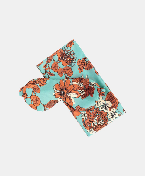 SLEEP MASK OUDRY IN PRINTED SILK MULTICOLOR LIGHT BLUE