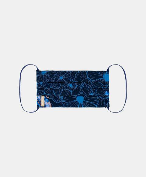 CLAUDETTE SILK MASK, BLUE/BLUETTE PRINT
