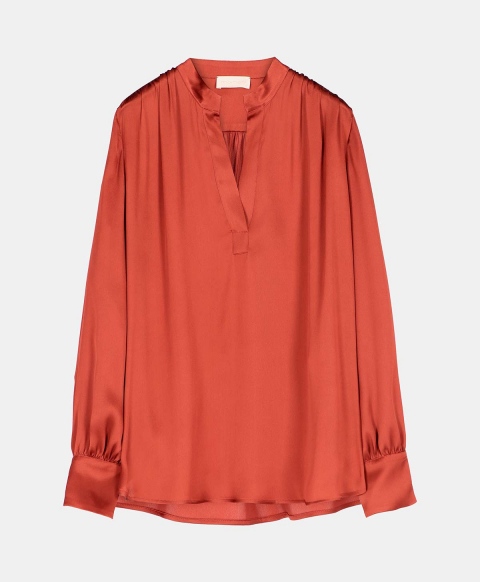 ARIETE BLOUSE IN SILK-BLEND SATIN  RUST