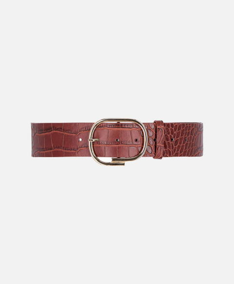 VENERE BELT IN CROC-PRINT LEATHER  BURNT BROWN