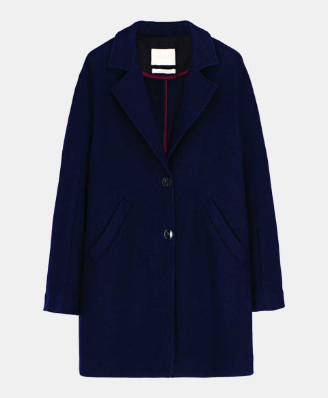 OTELLO COAT IN WOOL TWILL  BLUE