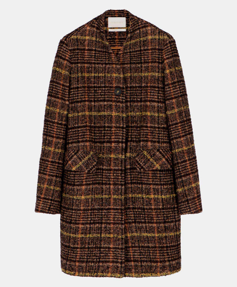 ORSAMINORE COAT IN WOOL CHECK  BROWN/YELLOW