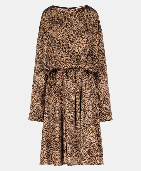 BENU DRESS IN STRETCH SILK SATIN  BEIGE/BROWN