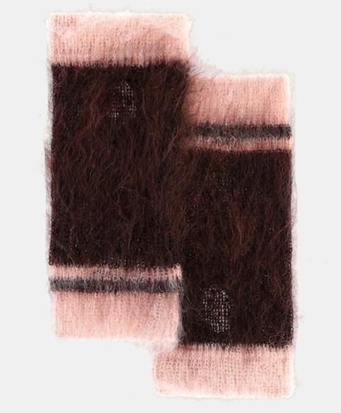 TIBERINO HALF GLOVES IN SHREDDED MOHAIR  CHOCOLATE