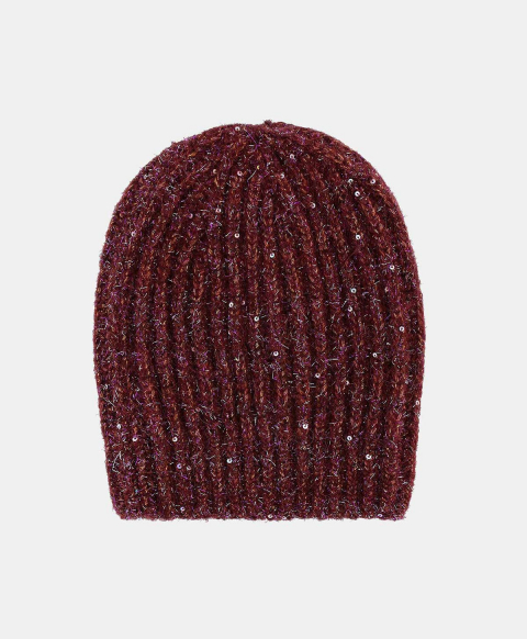 UNUNU RIBBED BEANIE WITH SEQUINS BORDEAUX