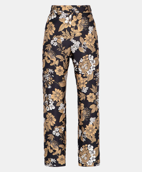 AVENA TROUSERS IN SILK TWILL  BLACK/TOBACCO