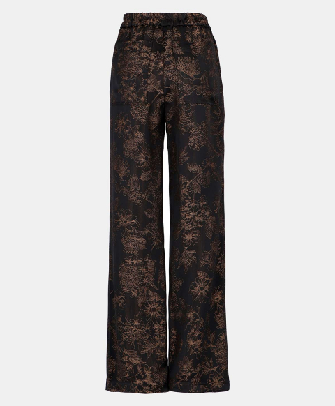 DUNDRA TROUSERS IN FLORAL JACQUARD  BLACK
