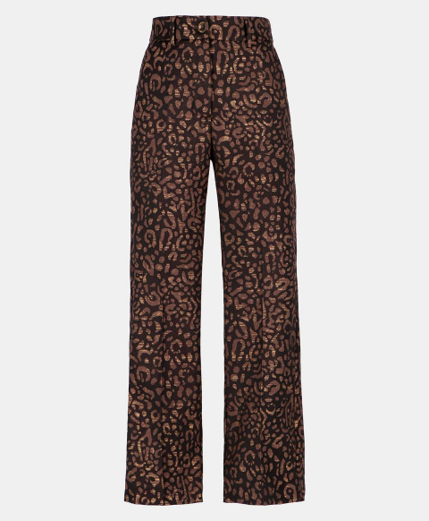 INDRA TROUSERS IN ANIMALIER LUREX JACQUARD  BROWN