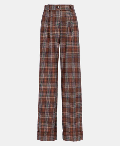 NEFTI TROUSERS IN CHECK WOOL-COTTON BROWN