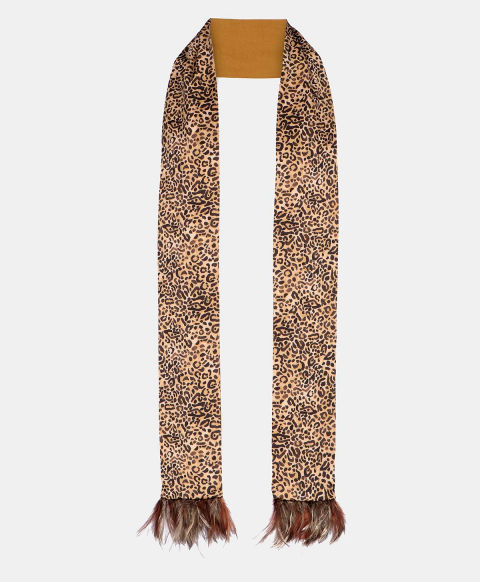 TALO DOUBLE-FACE SCARF IN BEIGE SILK WITH FEATHERS