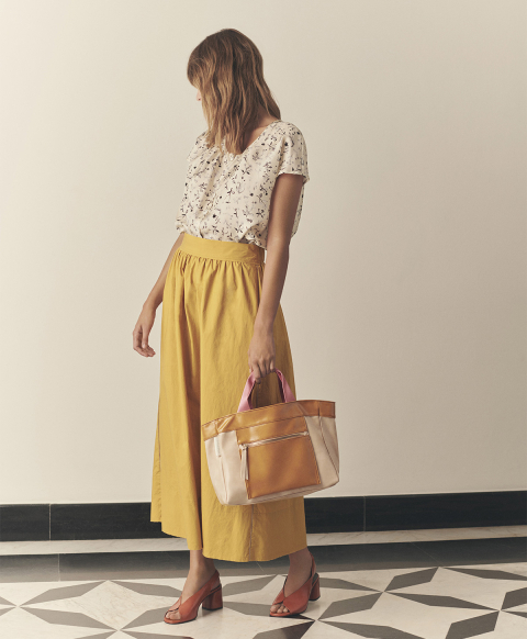 Gathered skirt in yellow cotton poplin