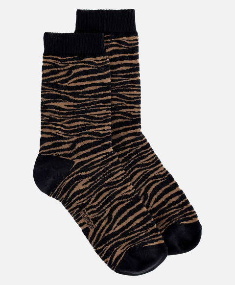 TUONI SOCKS IN JACQUARD BLACK/CARAMEL