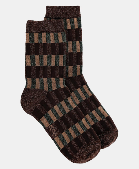 TUONI SOCKS IN JACQUARD GREEN/BROWN