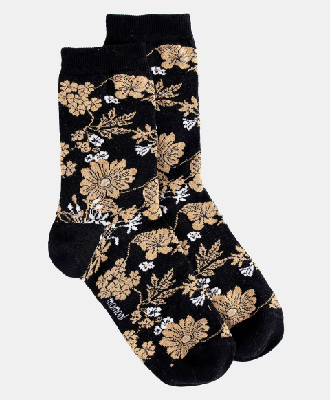 TUONI SOCKS IN JACQUARD BLACK/TOBACCO