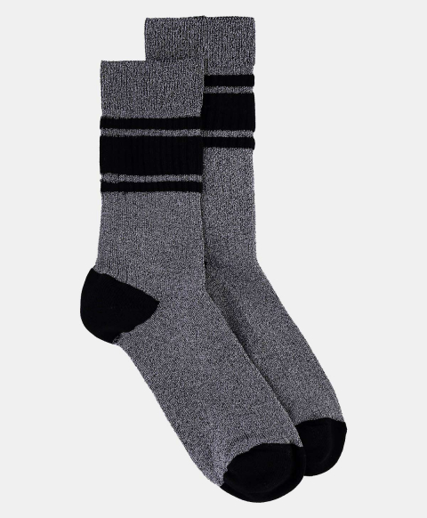 TRITONE SOCKS IN RIBBED LUREX  SILVER