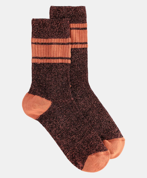 TRITONE SOCKS IN RIBBED LUREX  COPPER