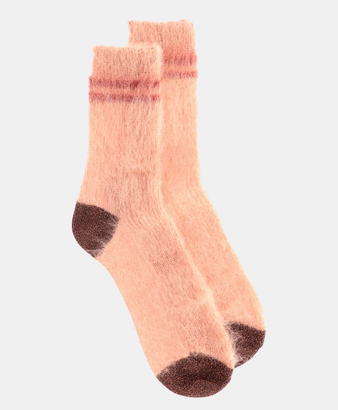 TINIA SOCKS IN SHREDDED MOHAIR CAMEL