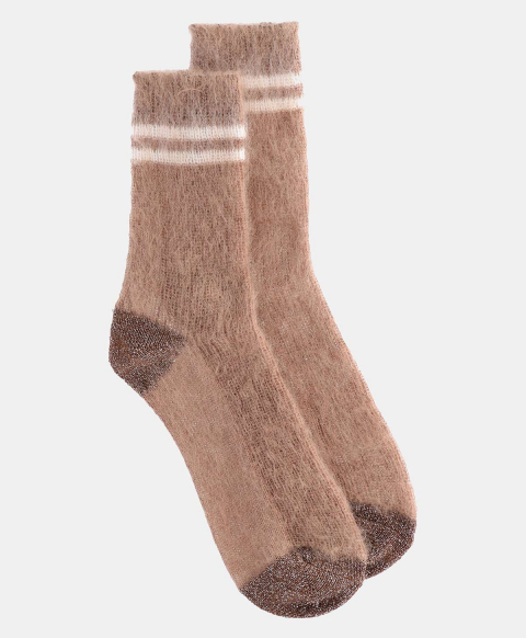 TINIA SOCKS IN SHREDDED MOHAIR SAND COLOR