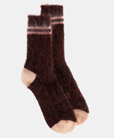 TINIA SOCKS IN SHREDDED MOHAIR CHOCOLATE