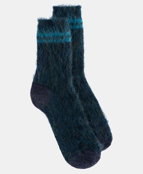 TINIA SOCKS IN SHREDDED MOHAIR OCEAN BLUE