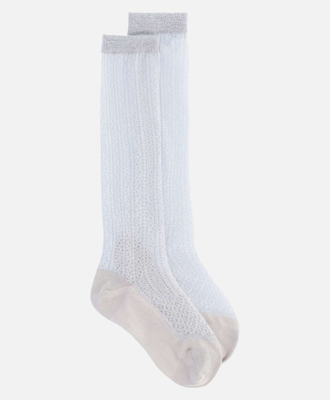 TALASSA BIS SOCKS IN LUREX MESH SILVER