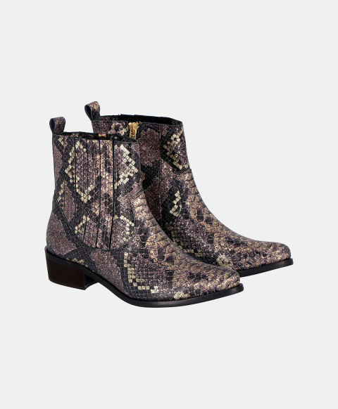 VULCANO ANKLE BOOTS IN GOLD PYTHON-PRINT LEATHER  GOLD/LILIAC