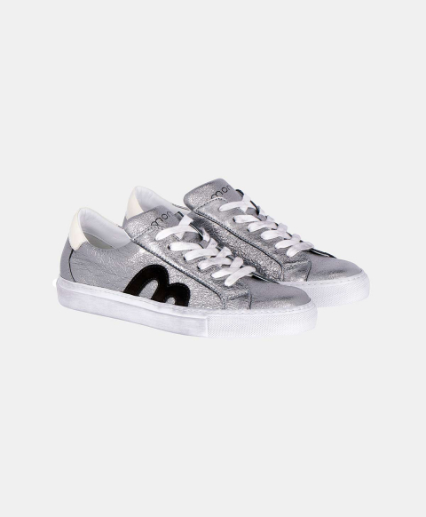 WALLABY SNEAKERS IN SOLID COLOUR LEATHER  SILVER