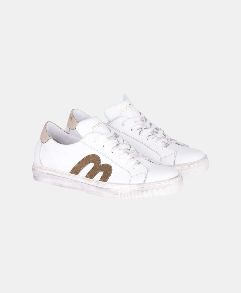 WALLABY SNEAKERS IN SOLID COLOUR LEATHER  WHITE