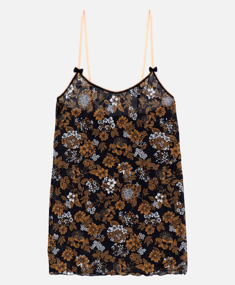 AIRELLE TOP IN PRINTED CHARMEUSE  BLACK/TOBACCO